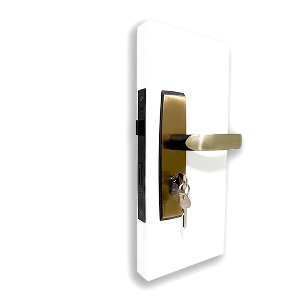 Fechadura Externa com Maçaneta Alavanca 15 e Espelho Plus - Latão Oxidado